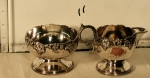 Creamer & sugarbowl copper with silverplate