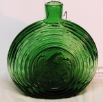 Eagle Pictorial Flask~ green glass bt1